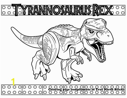 This LEGO T rex coloring page and many more available at truenorthbricks