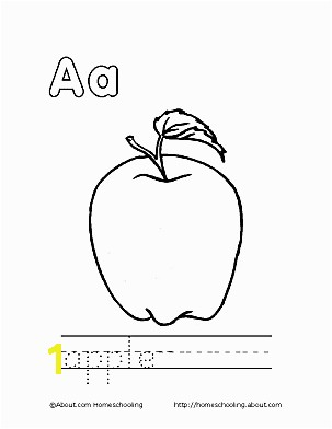 Apple Coloring Page Letter A 7