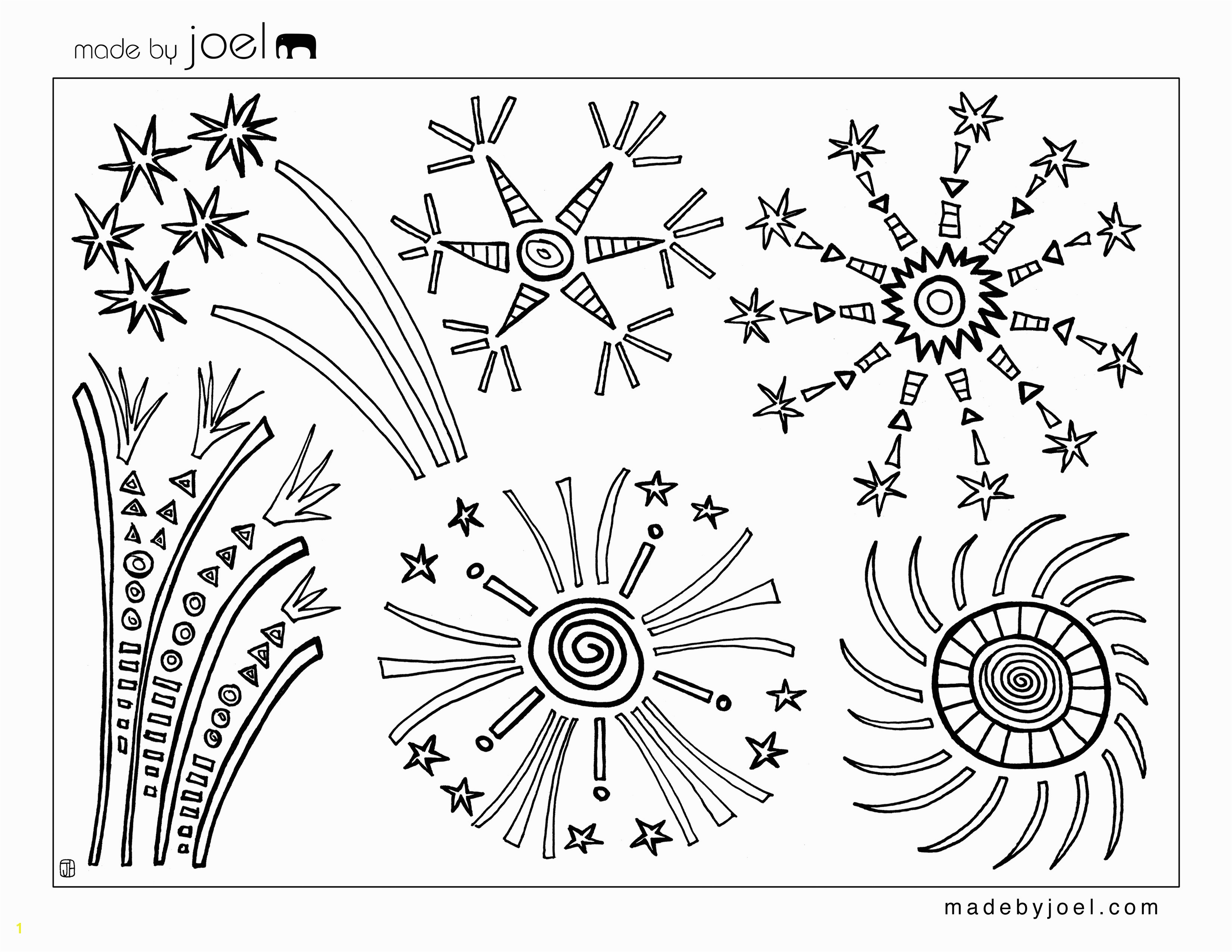 4th of July Fireworks Coloring Sheet