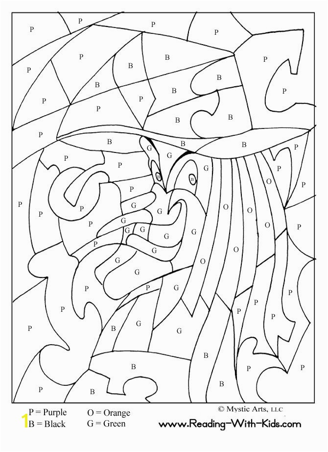 Halloween Color By Letter Witch coloring page love your neighbor