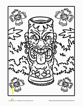 Worksheets Tiki Coloring Page