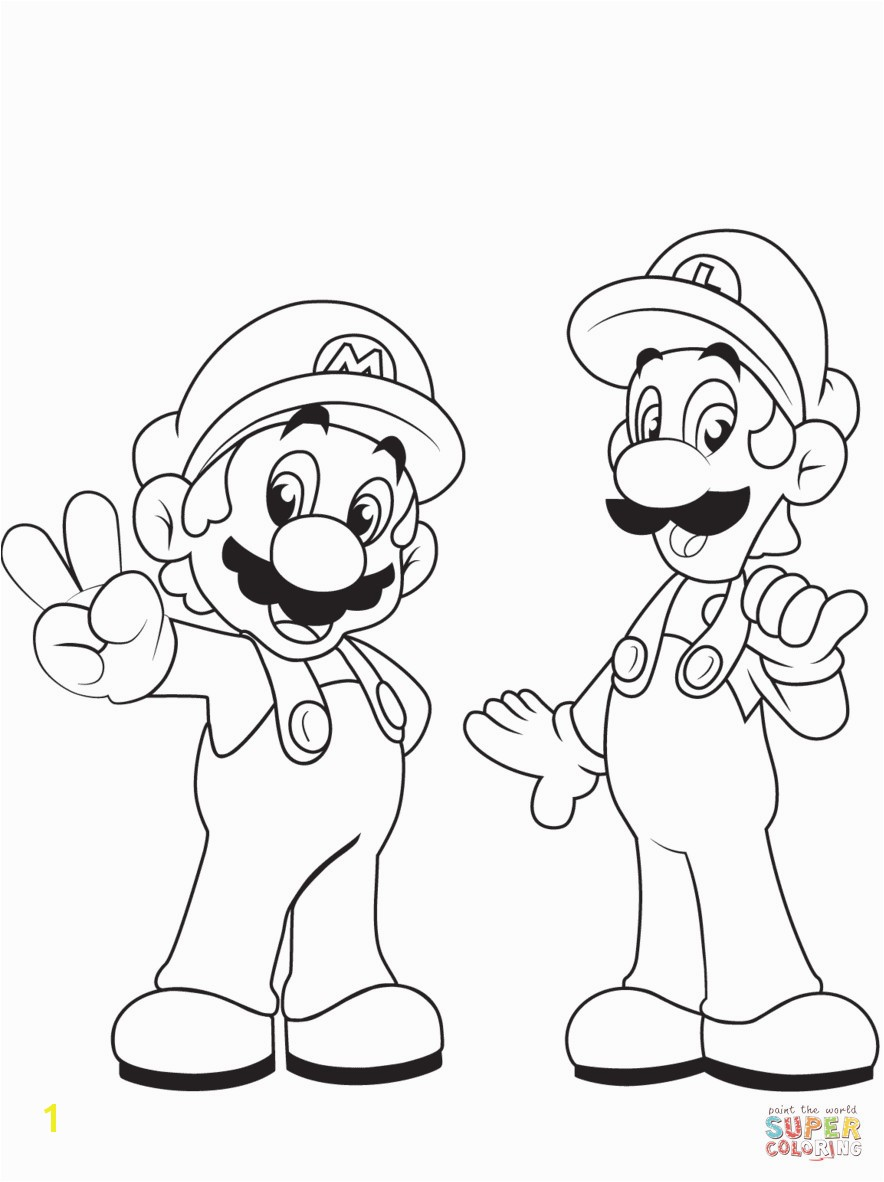 Luigi Mario Kart Coloring Pages Mario and Luigi Coloring Pages to Print Fresh Mario Bros Printable