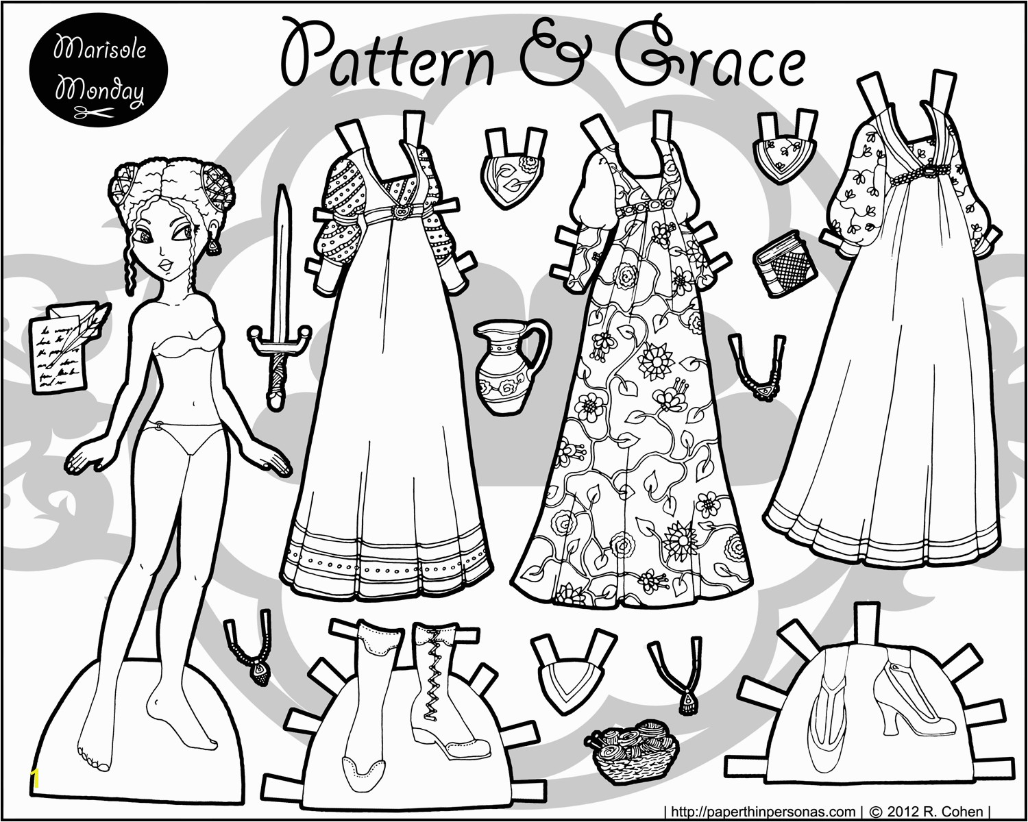 Marisole Monday Paper Doll Coloring Pages Patterns & Grace A Black & White Fantasy Paper Doll