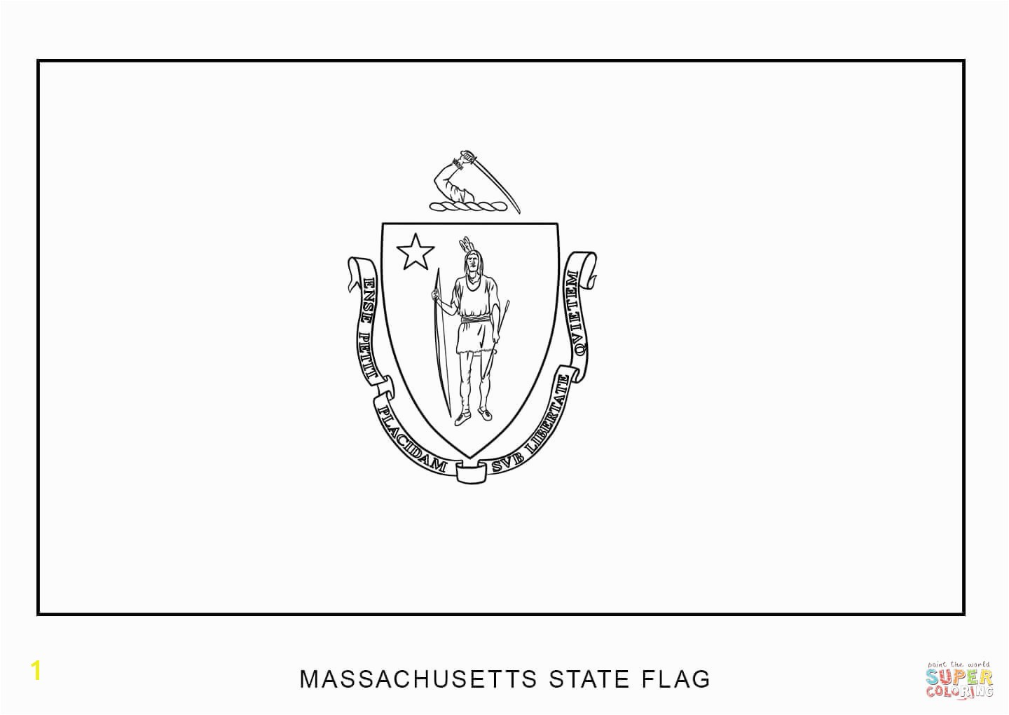Flag Massachusetts Coloring Page State Seal