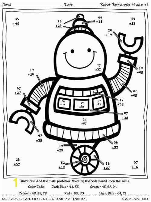 Math double digit addition coloring worksheets