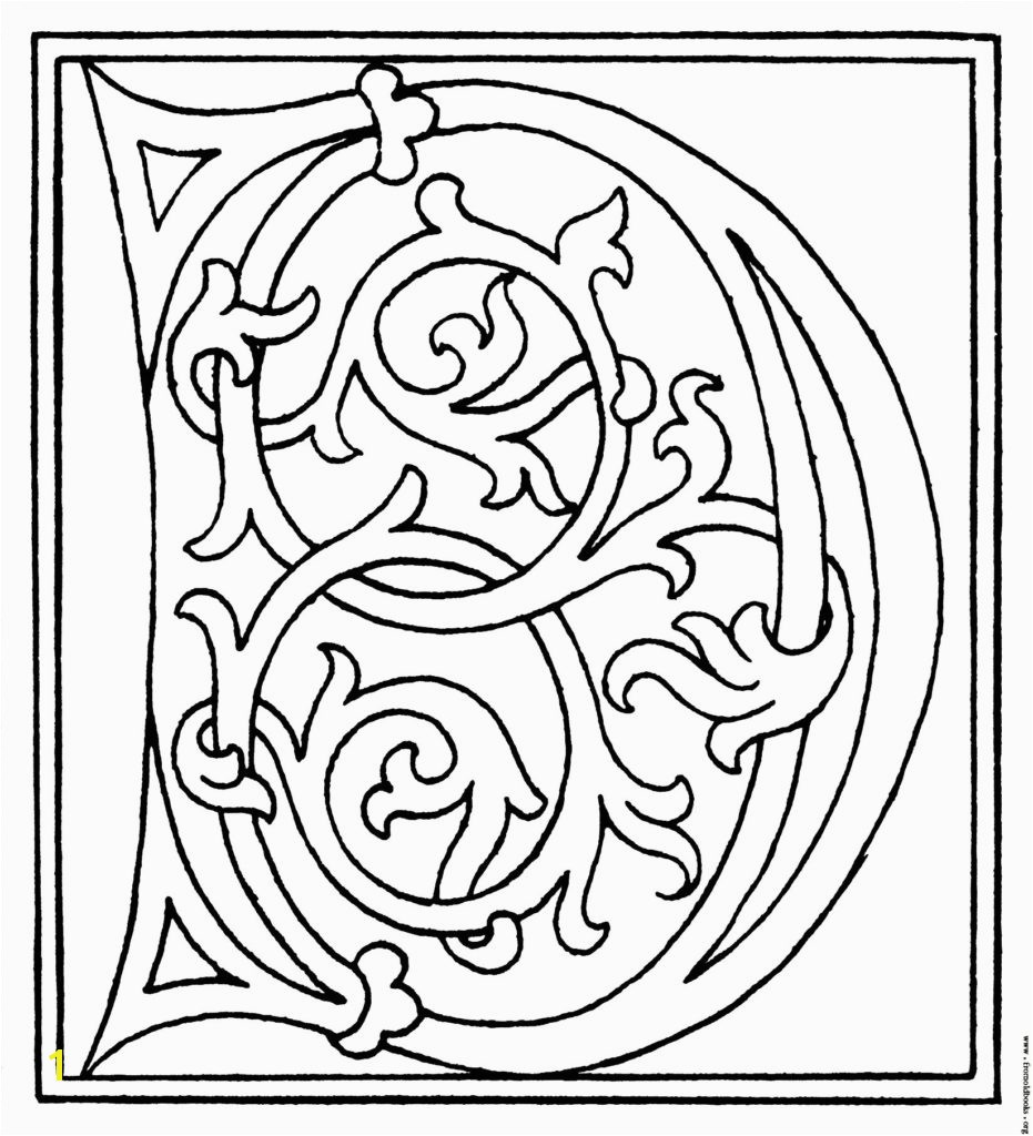 Launching Me val Illuminated Letters Coloring Pages Alphabet Initial D Colouring 7 Fototo Me