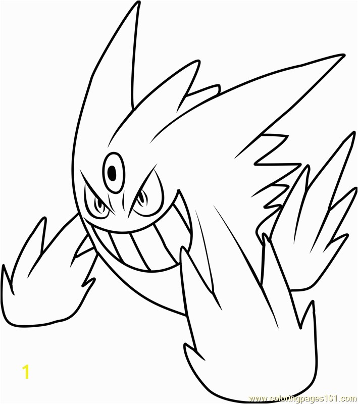 Mega Gengar Pokemon Coloring Page