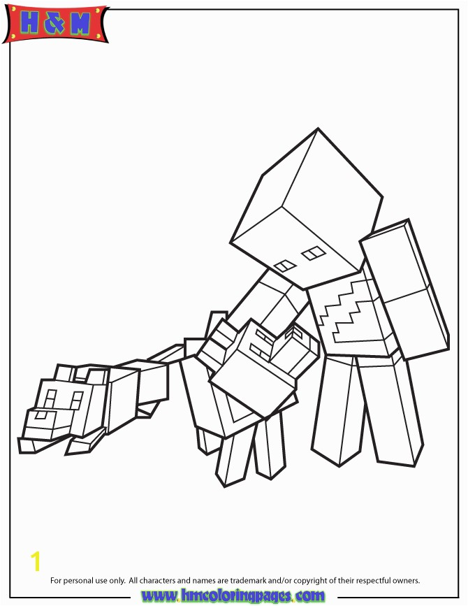 Minecraft Coloring Book Awesome Minecraft Character And Wolves Coloring Page
