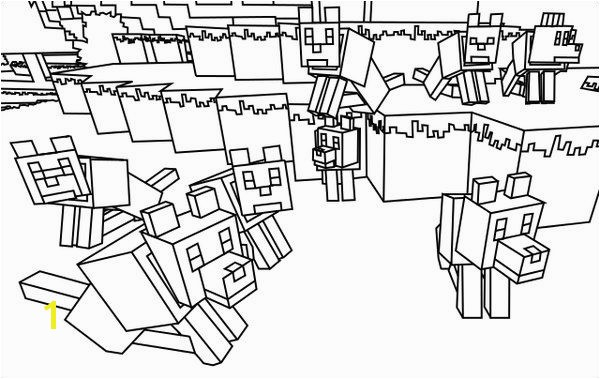 Minecraft Wolves Coloring Pages 600—379