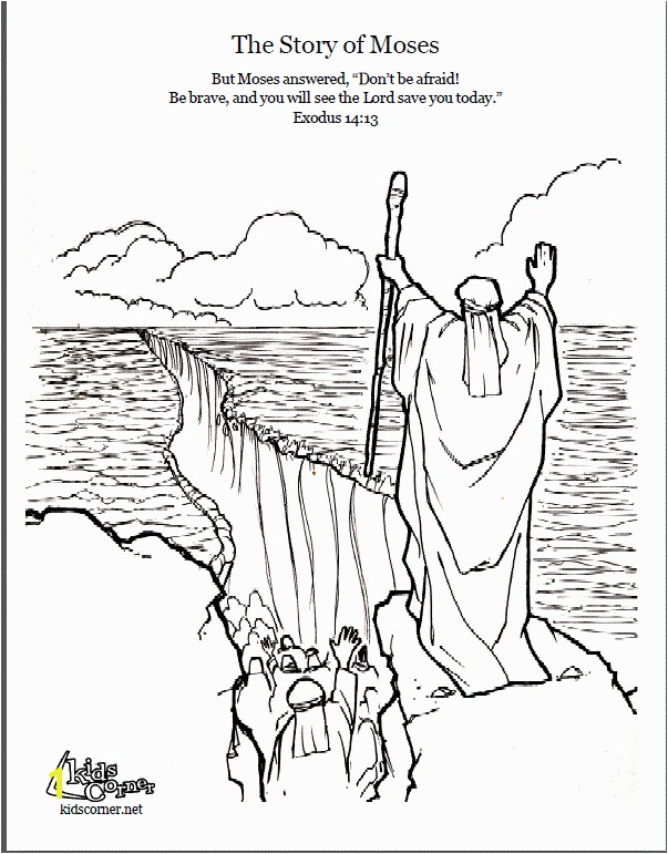 Story of Moses Coloring page script and Bible story story of moses