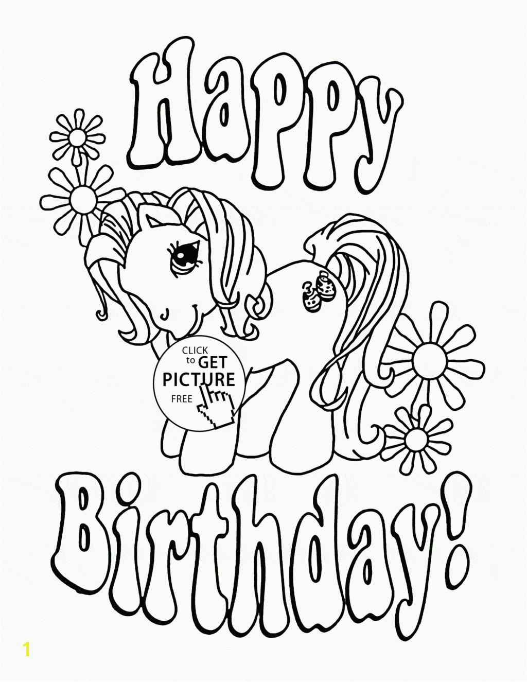 Awesome My Little Pony Happy Birthday Coloring Page Unconditional Pages Alert Famous
