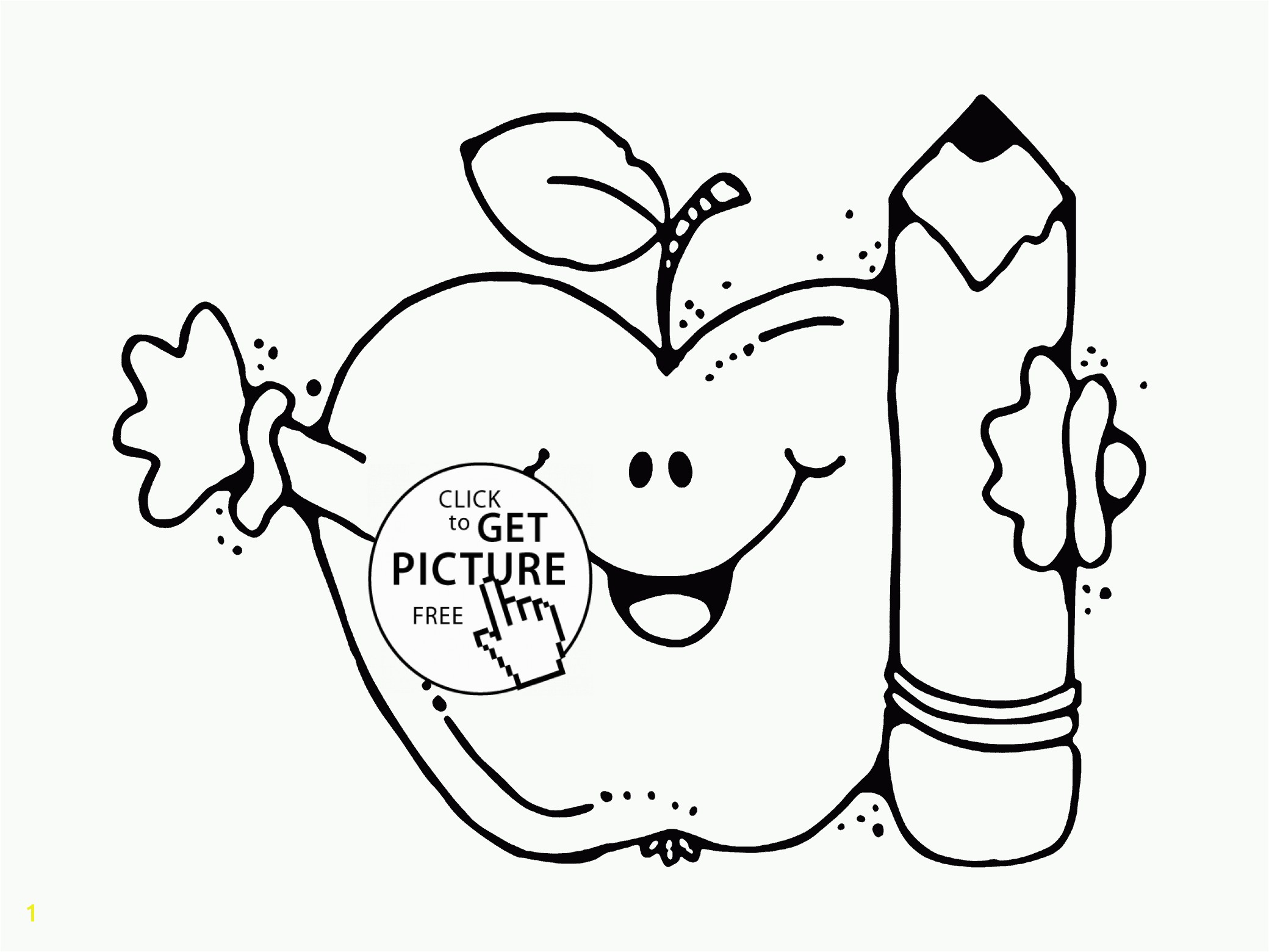 Energy Nail Salon Coloring Pages Revealing Funny Apple With Pencil Page For