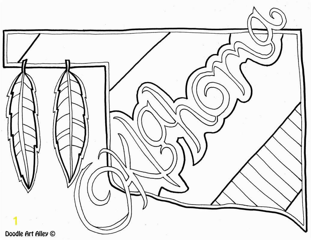 Oklahoma Coloring Page by Doodle Art Alley