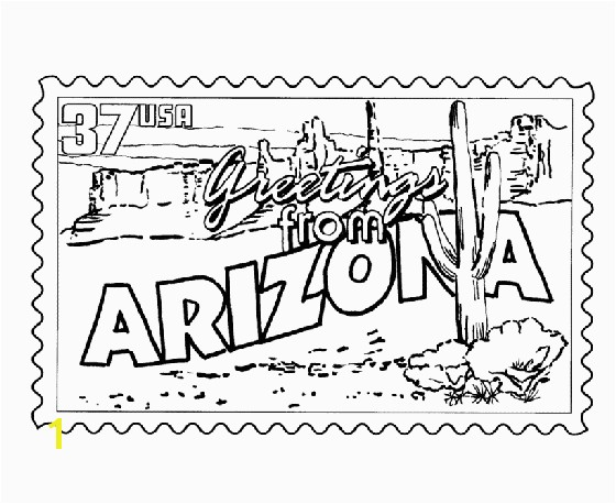 USA Printables Arizona State Stamp US States Coloring Pages