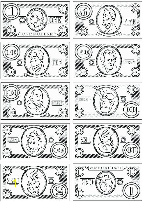 Play Money Coloring Sheets Pages Printable Game For