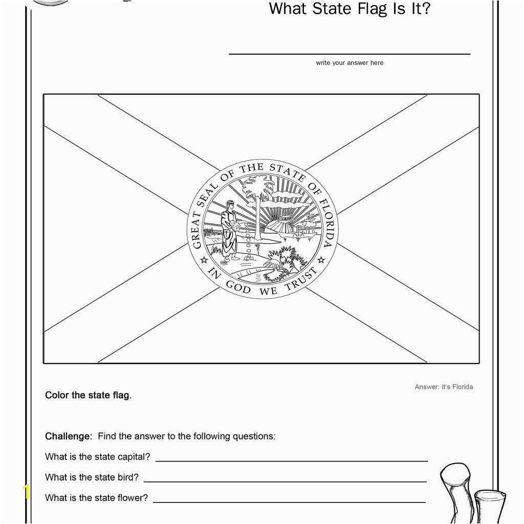 Coloring Page State Flag Florida Printable Worksheet Surviving the Oregon Trail