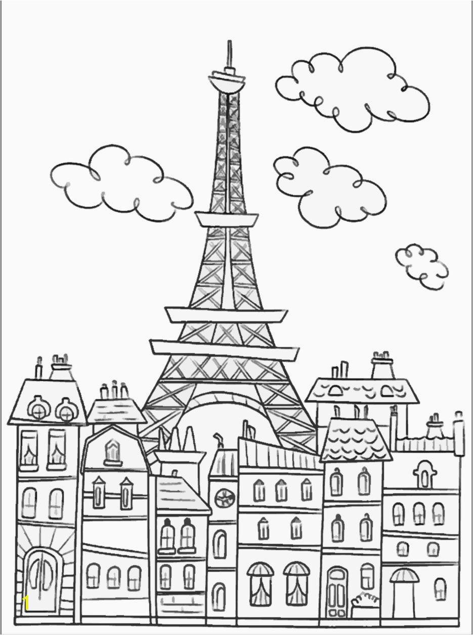 Eiffel Tower Coloring Page Paris Buildings & Eiffel Tower Cute Coloring Page To