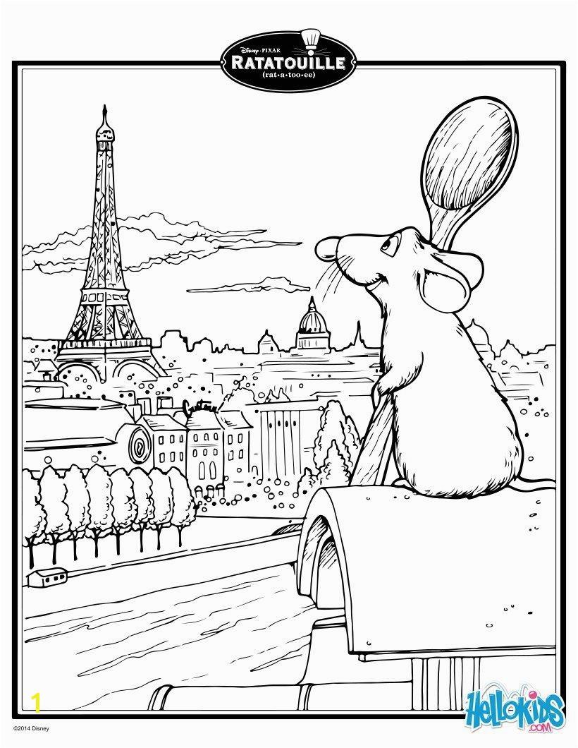 Paris Coloring Pages for Kids Ratatouille S Remy In Paris Coloring Page Coloring