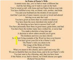 "Honor your Pastor s wife with ""In Praise of Pastor s Wife "" the definitive Pastor s Wife appreciation poem beautifully engraved on this stunning"