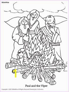 Coloring Paul and the Viper Kids Korner BibleWise