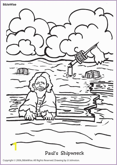 Paul and the Shipwreck Coloring Page Coloring Paul S Shipwreck Kids Korner Biblewise