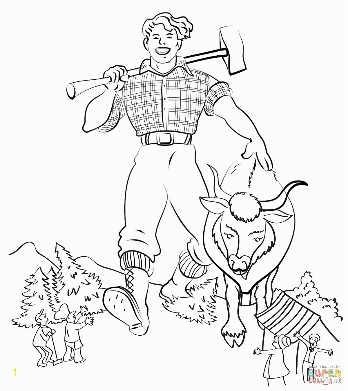 paul bunyan coloring sheet paul bunyan and babe the blue ox coloring page