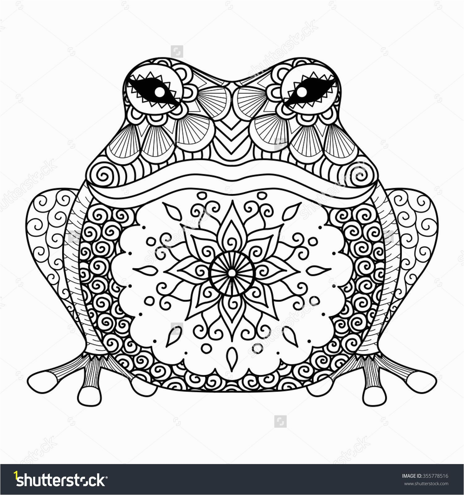 Hand drawn zentangle frog for coloring book for adult shirt design