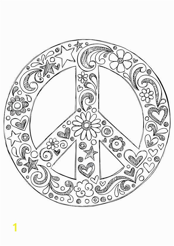 Peace Sign Coloring Pages Simple and attractive Free Printable Peace Sign Coloring Pages In