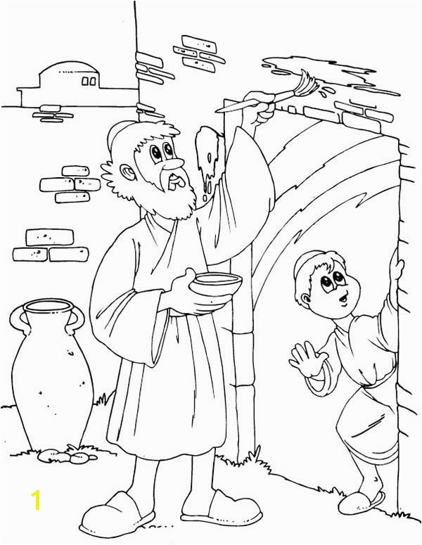 Children of Israel Do the Gods mand to Mark Their Door on Passover Coloring Page
