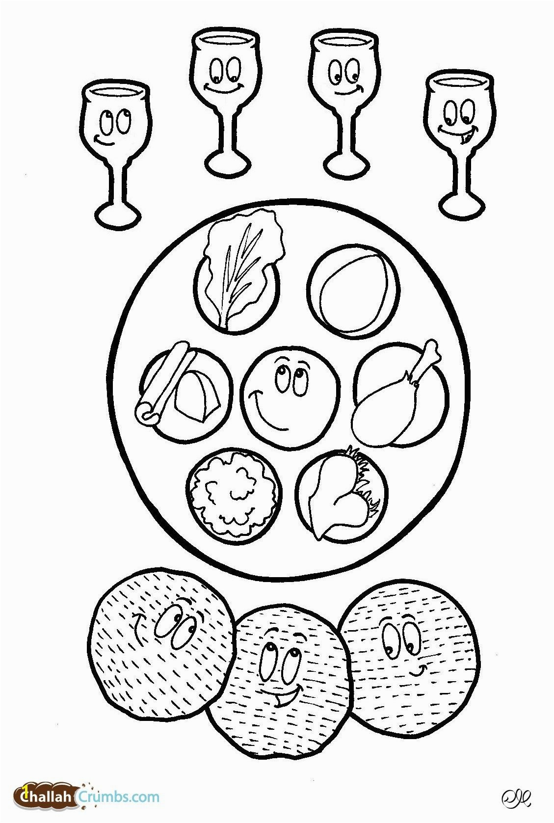 This coloring page has it all four cups of wine three pieces of matzah and a happy seder plate