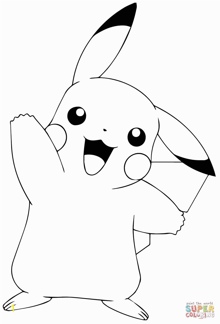 Pokemon Pikachu Coloring Pages Free Pokémon Go Pikachu Waving Coloring Page