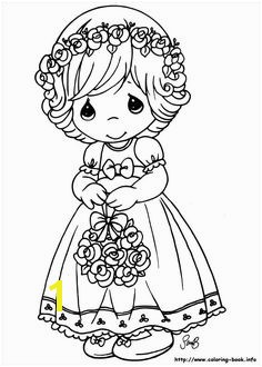Floral girl Precious Moments coloring pages