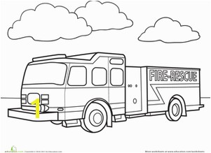 Preschool Coloring Worksheets Fire Truck Coloring Page