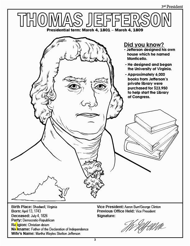American Presidents Coloring Book President Thomas Jefferson Coloring Page
