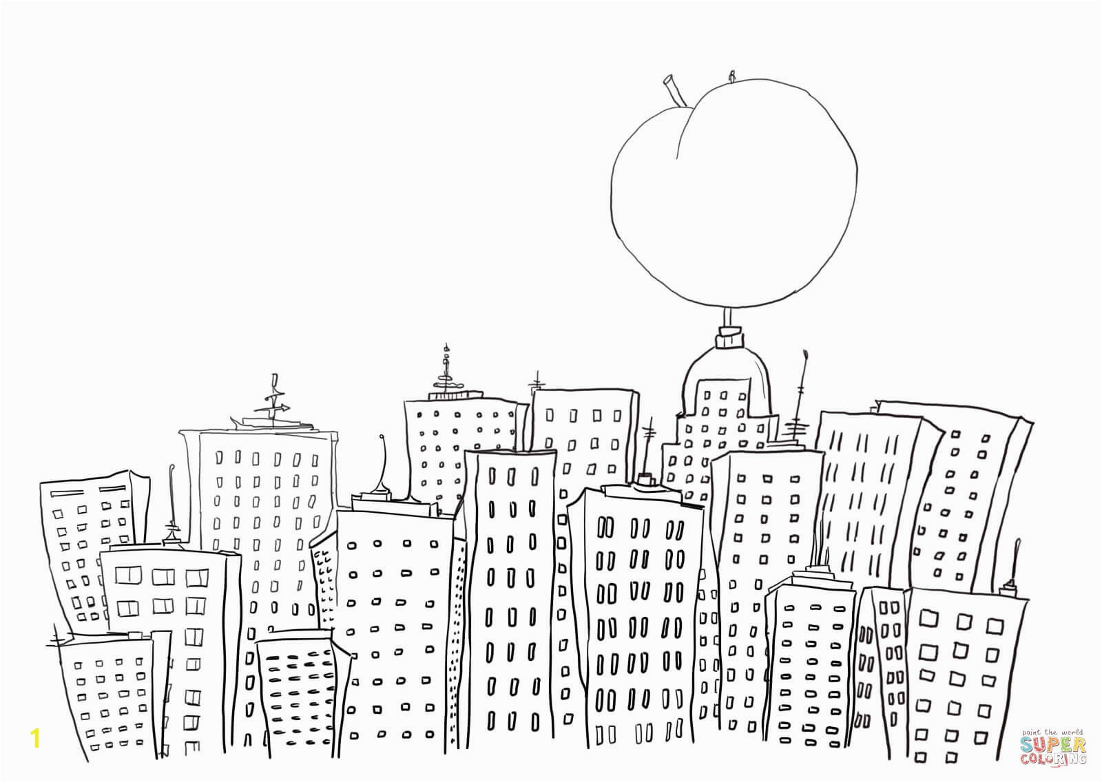 James and The Giant Peach In New York Coloring Page Free Printabl on Printable L A Angels
