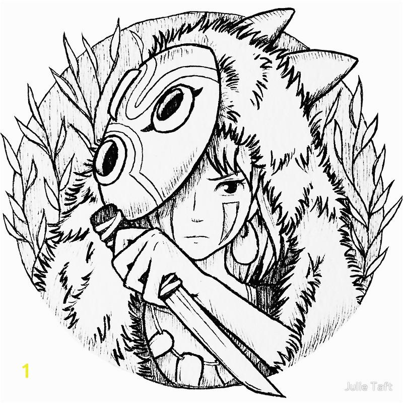 800x799 Princess Mononoke San Drawing Stickers by Julie Taft Redbubble