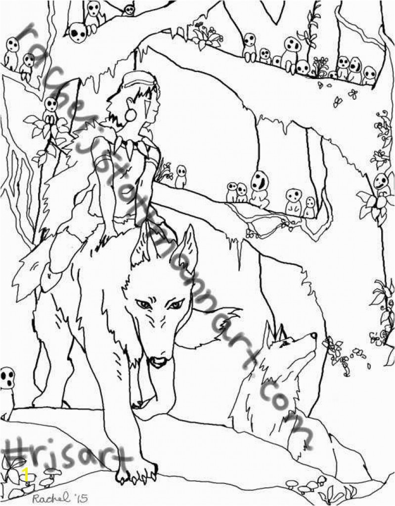 Princess Mononoke Coloring Pages plete Guide Example within Princess Mononoke Coloring Pages