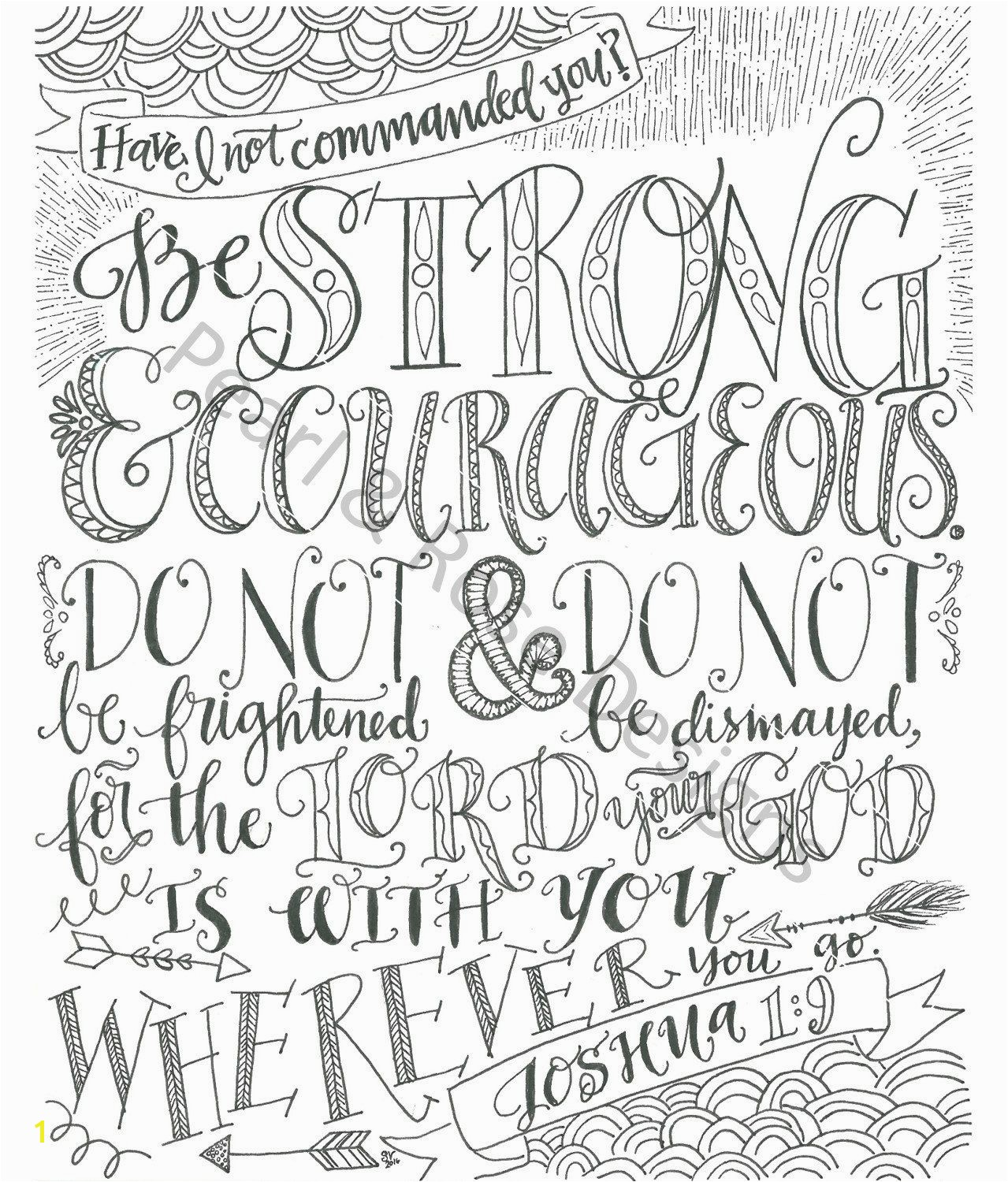 Adult Coloring Page Joshua 1 9 Be Strong and Courageous Instant Download by PearlAndRoseDesigns on Etsy