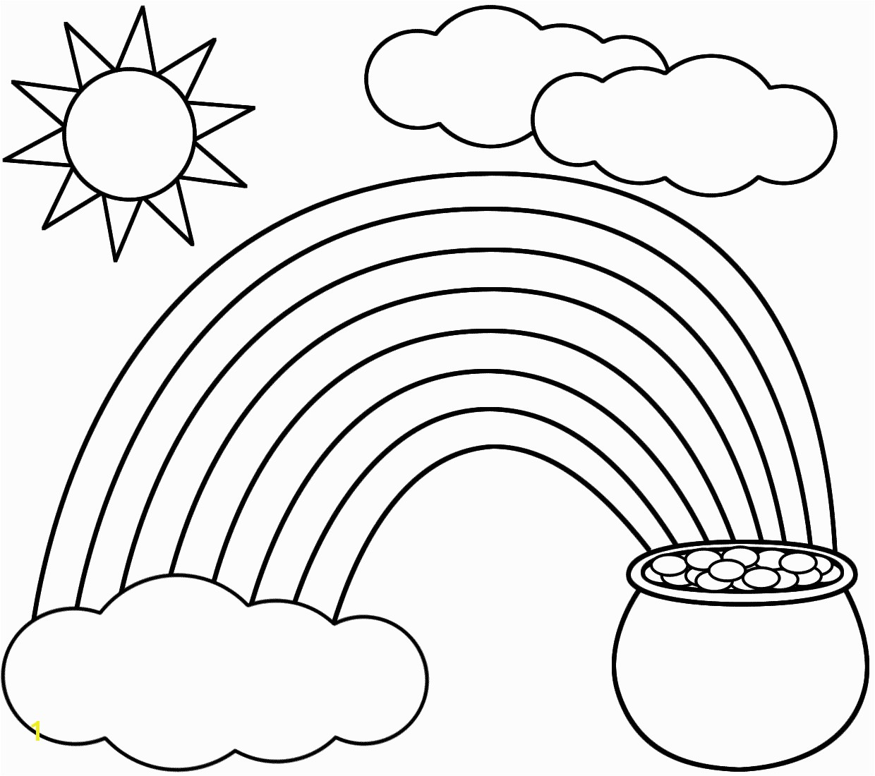 Rainbow Coloring Page Kids dream of rainbows with pots of gold at the end Free printable