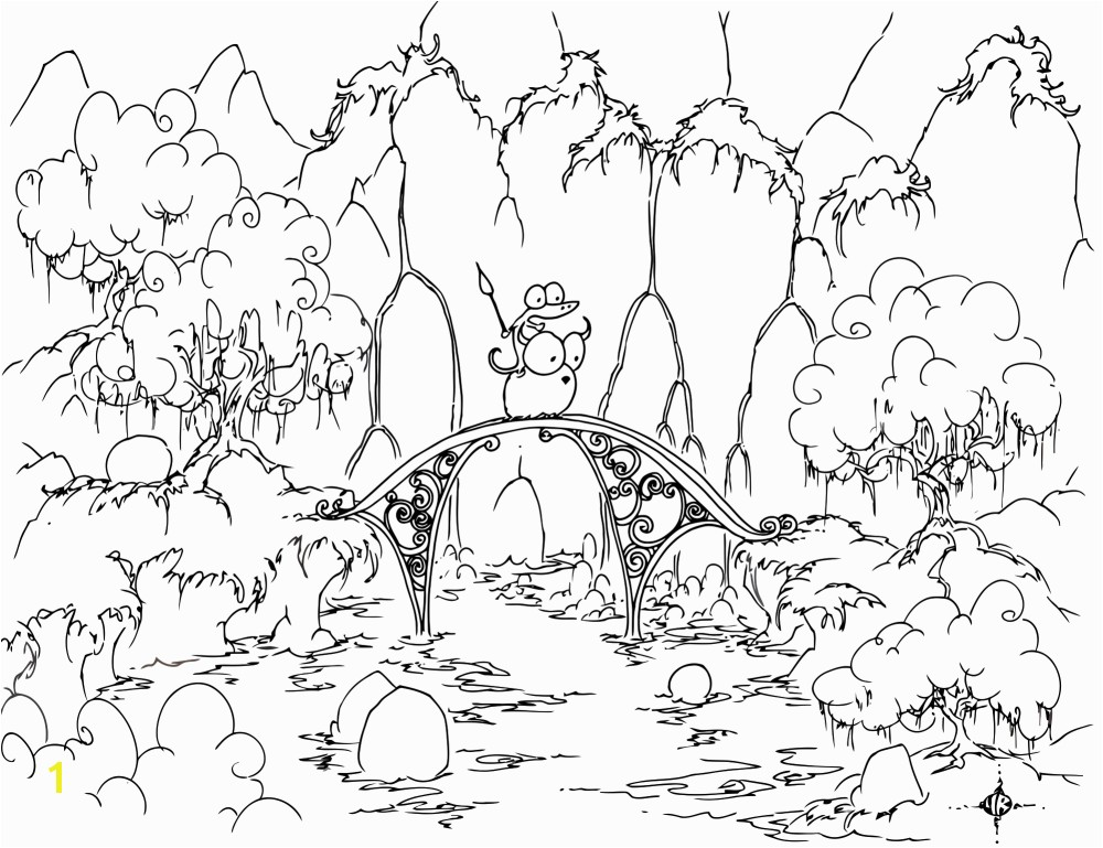Printable Scenery Coloring Pages Amazing Coloring Page Alligator Riding A Bison Across A Bridge