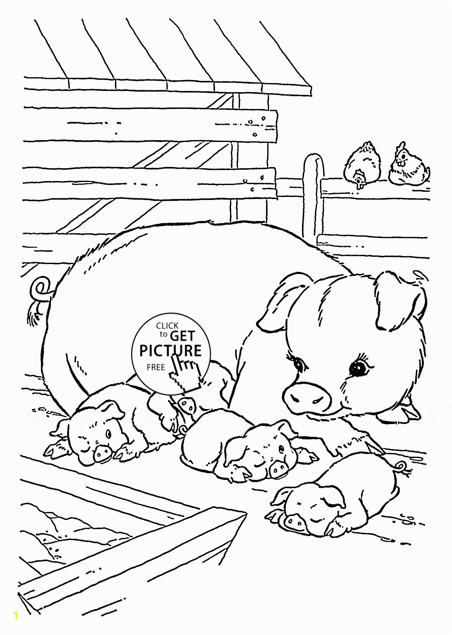 Cute Pigs coloring page for kids animal coloring pages printables free