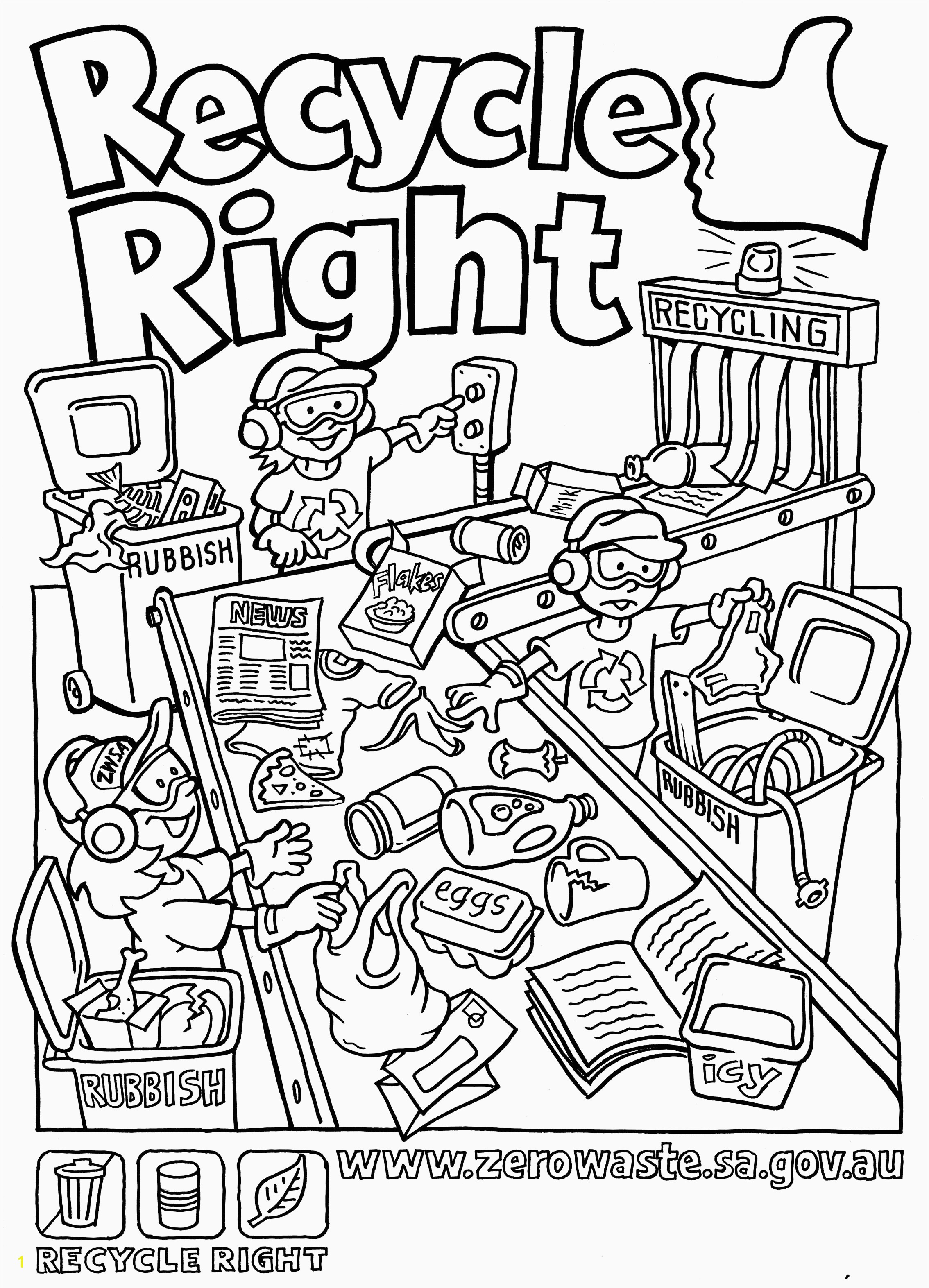 Recycling Coloring Pages For Kids Garbage Can Coloring Pages