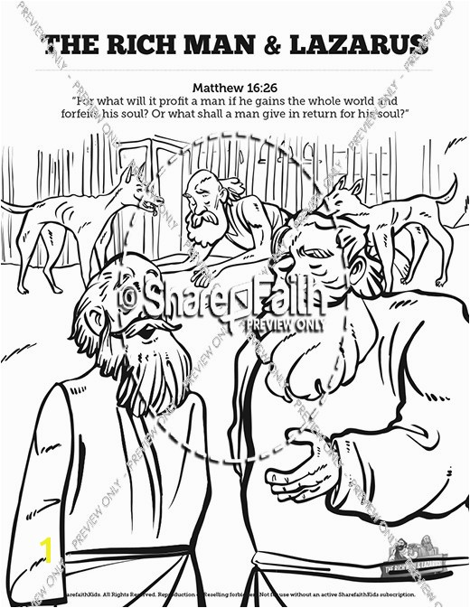 Luke 16 Lazarus and the Rich Man Sunday School Coloring Pages
