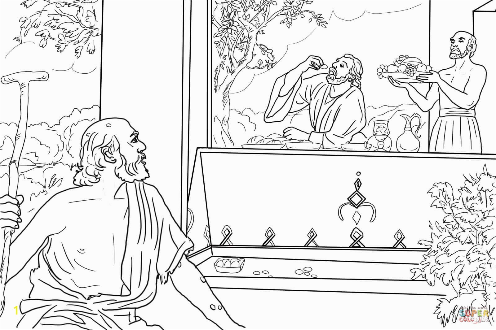 the Rich Man and Lazarus coloring pages