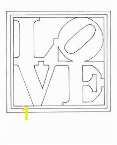 Colouring page of Robert Indiana s famous painting sculpture LOVE