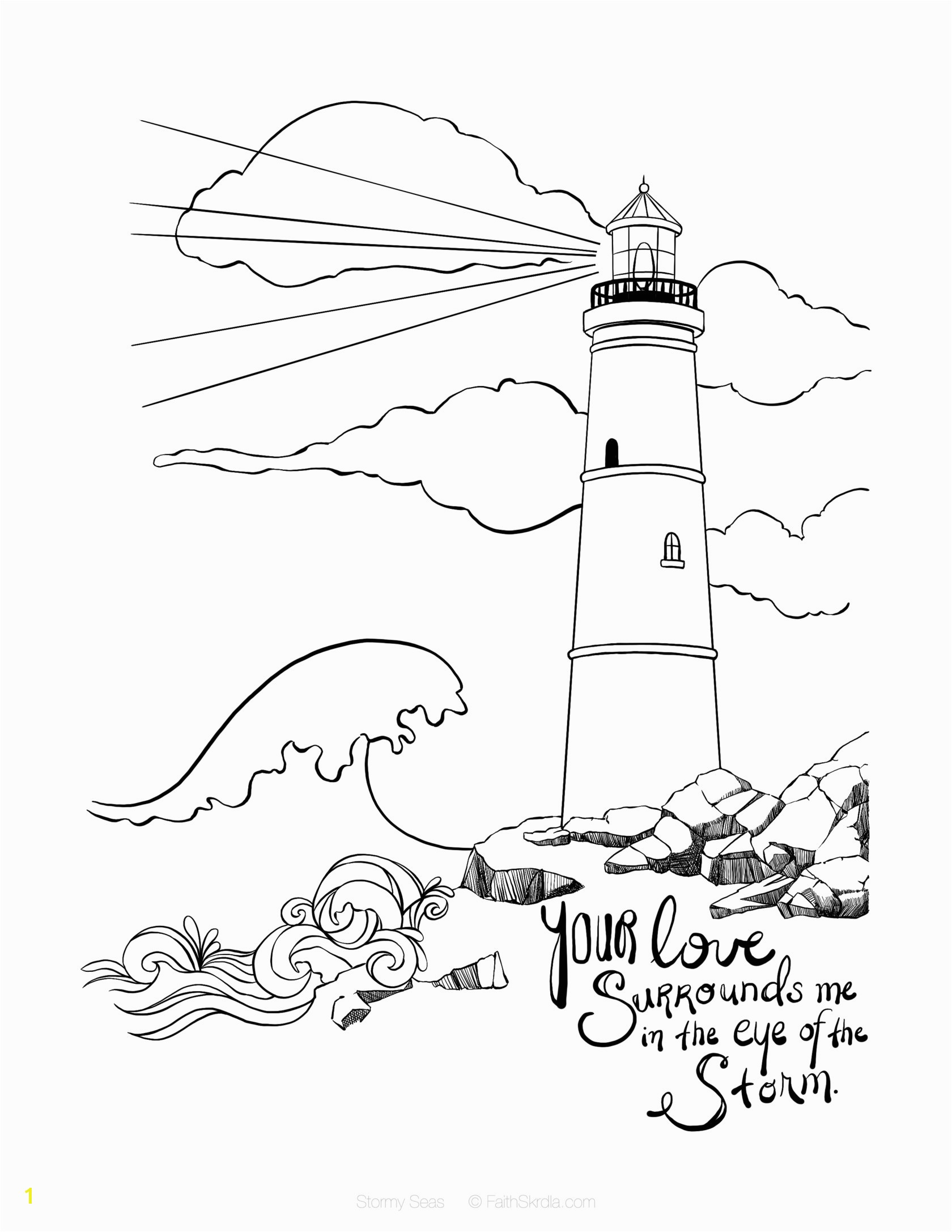 Lighthouse Coloring Pages Even In Stormy Seas Your Love Surrounds Me Romans 8 28 Bible
