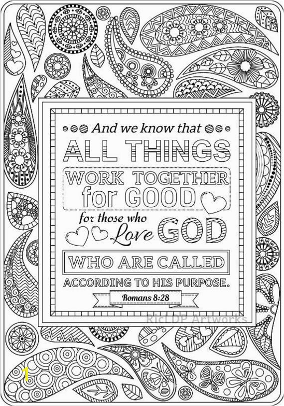 Two Bible Coloring Pages Romans 8 28 and Romans 2 12 Scripture Colouring Sheets Christian Doodles Digital Download
