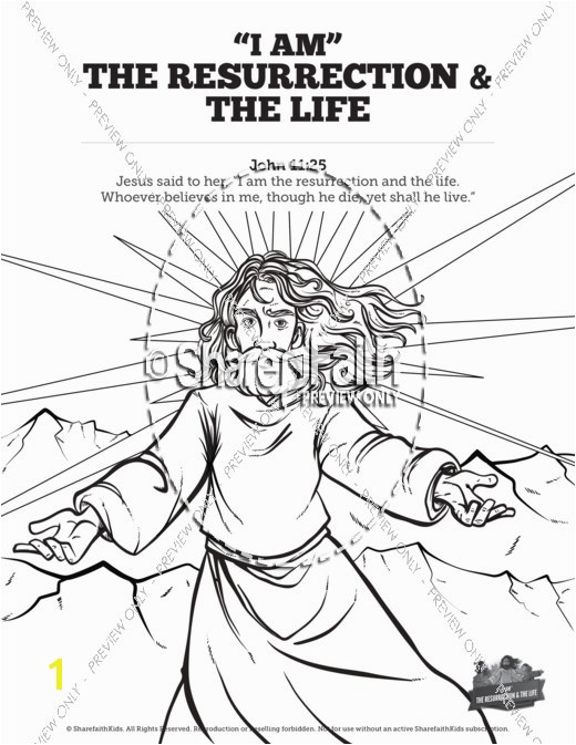 John 11 I am the Resurrection and the Life Sunday School Coloring Pages