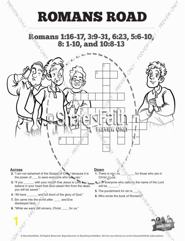 Romans Road Sunday School Crossword Puzzles