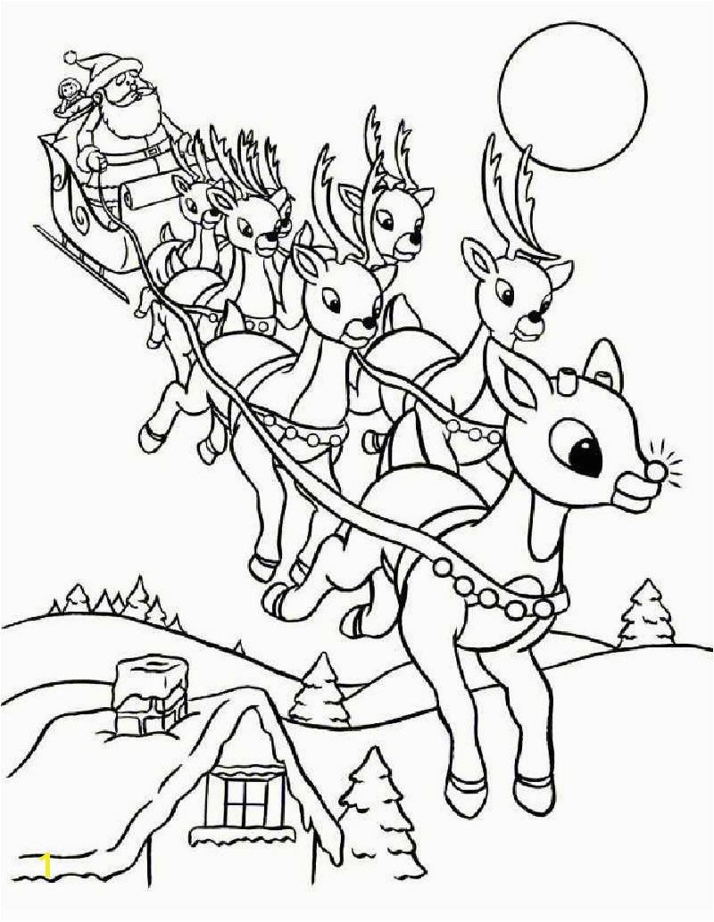 Rudolph and Santa Sleigh coloring page